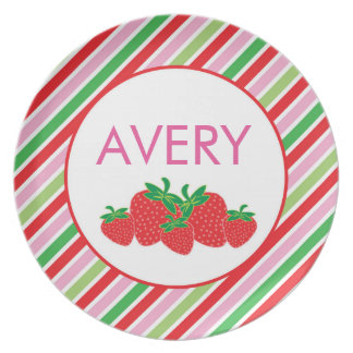 Strawberry Stripes - Personalized Melamine Plate