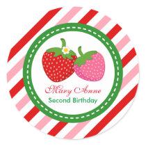 Strawberry Summer Birthday Baby Shower Classic Round Sticker