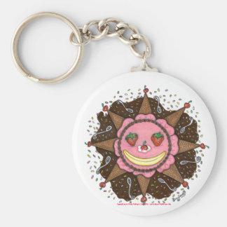 Strawberry Sun Days Basic Round Button Keychain