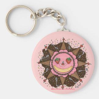 Strawberry Sun Days (pink) Basic Round Button Keychain