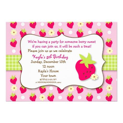 Strawberry Sweet Berry Birthday Party Invitations
