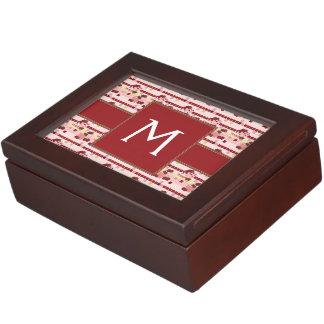 Strawberry Sweet Treats Pattern With Initial Keepsake Box