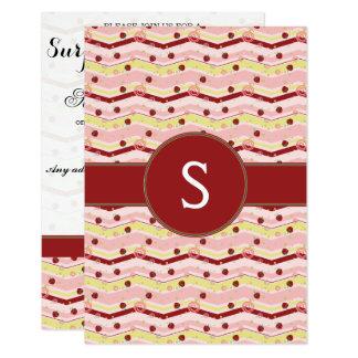 Strawberry Swirl Chevron Pattern With Initial Card