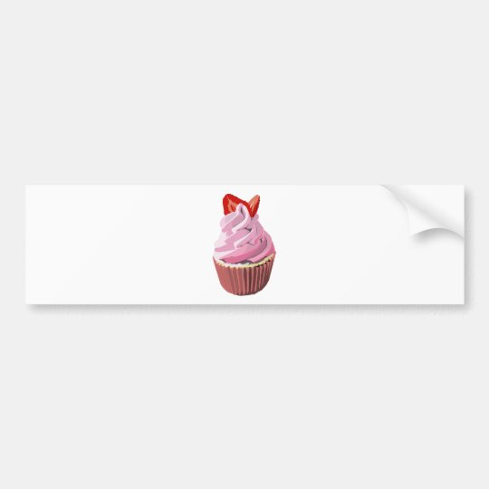 Strawberry swirl cupcake template products bumper sticker