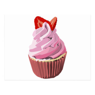 Strawberry swirl cupcake template products postcard
