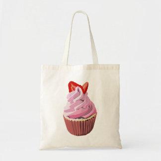 Strawberry swirl cupcake tote budget tote bag