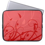 Strawberry Swirl Pink & Red Girly Floral Design Laptop Sleeves