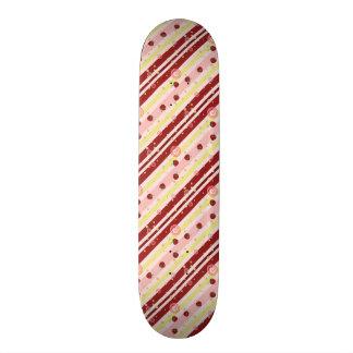 Strawberry Swirl Stripes Pattern Skateboard Deck