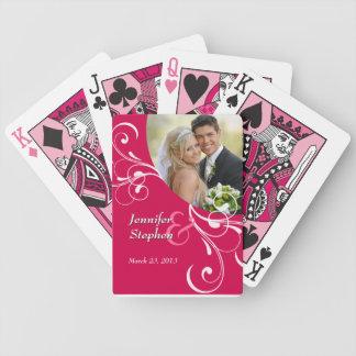 Strawberry Swirls Wedding Photo Playing Cards