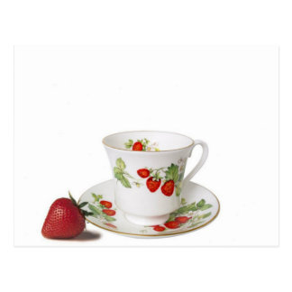 StrawBerry Tea Cup And Saucer Postcard