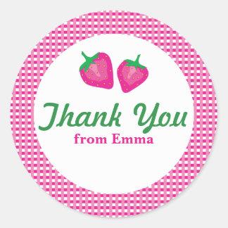 Strawberry Thank You Round Sticker