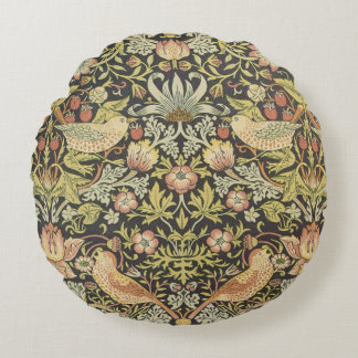 Strawberry Thieves by William Morris, Textiles Round Pillow