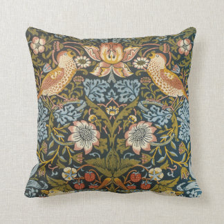 Strawberry Thieves by William Morris, Vintage Art Throw Pillow