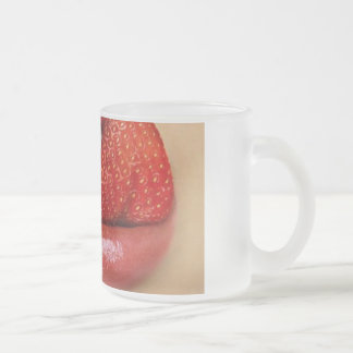 Strawberry Tongue 10 Oz Frosted Glass Coffee Mug