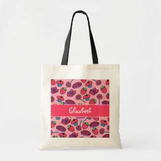 Strawberry Treats Personalized Canvas Bag Budget Tote Bag