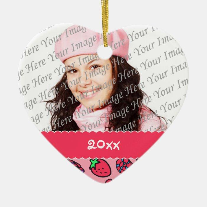 Strawberry Treats Personalized Heart Ornament