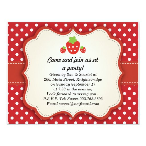Strawberry {updated link below} 4.25x5.5 paper invitation card