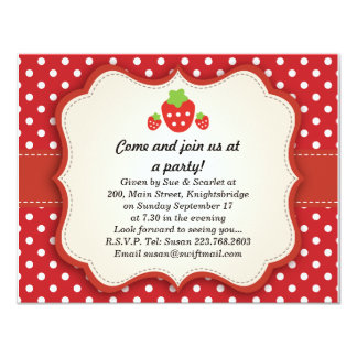 "Strawberry {updated link below} 4.25"" x 5.5"" invitation card"