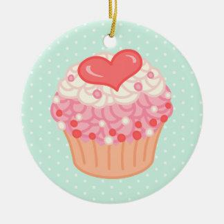 Strawberry Vanilla Cupcake Ceramic Ornament