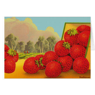 Strawberry Vintage Fruit Crate Art Blank Card