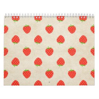 Strawberry Vintage Girly Rustic Strawberries Print Wall Calendars