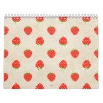 Strawberry Vintage Girly Rustic Strawberries Print Calendar