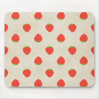 Strawberry Vintage Girly Rustic Strawberries Print Mouse Pad
