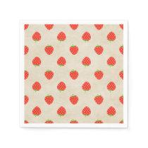 Strawberry Vintage Girly Rustic Strawberries Print Napkin