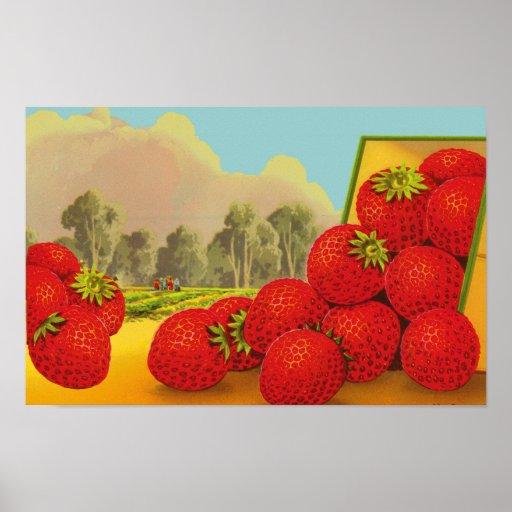 Strawberry Vintage Label Art Print