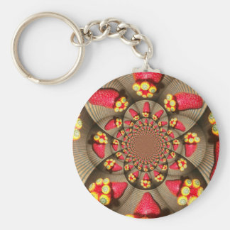STRAWBERRY VINTAGE RED AND YELLOW.jpg Basic Round Button Keychain