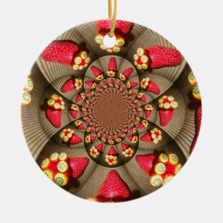 STRAWBERRY VINTAGE RED AND YELLOW.jpg Double-Sided Ceramic Round Christmas Ornament