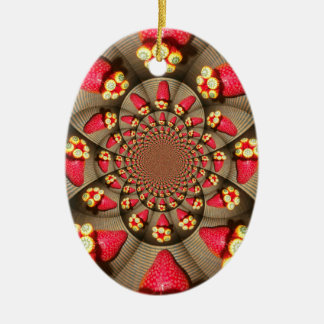 STRAWBERRY VINTAGE RED AND YELLOW Oval Ornament