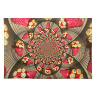 STRAWBERRY VINTAGE RED AND YELLOW Placemat Cloth Placemat