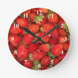 Strawberry wall clock   Healthy food photography