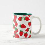 Strawberry Wallpaper Two-Tone Coffee Mug