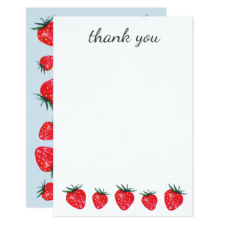 Strawberry Watercolor Thank You Notes Card