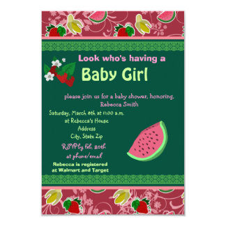 Strawberry Watermelon Baby Shower Invites