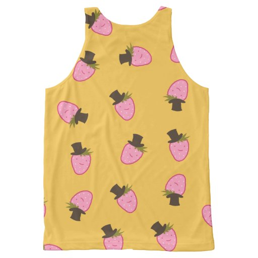 Strawberry Wearing A Top Hat All-Over Print Tank Top Tank Tops, Tanktops Shirts