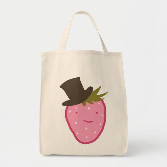Strawberry Wearing A Top Hat Tote Bag