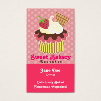 Strawberry & Whipped Cream Cupcake Business Cards