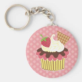 Strawberry & Whipped Cream Cupcake Keychain