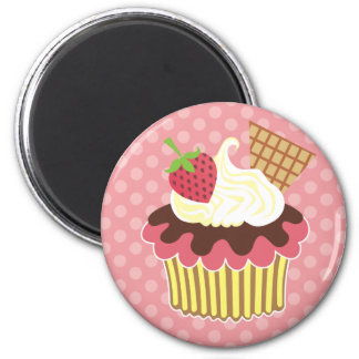 Strawberry & Whipped Cream Cupcake 2 Inch Round Magnet