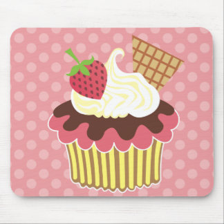 Strawberry & Whipped Cream Cupcake Mousepads