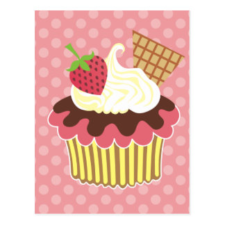 Strawberry Whipped Cream Cupcake Postcard