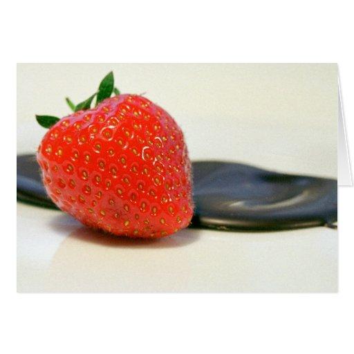 Strawberry with dark Valrhona chocolate Card