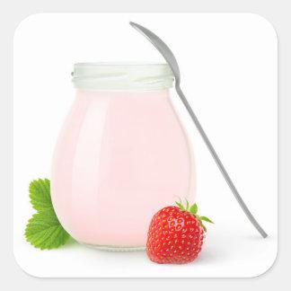 Strawberry yogurt square sticker