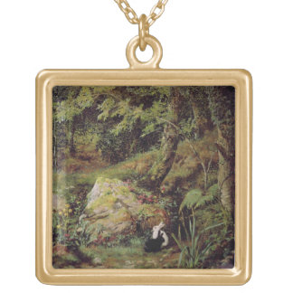 Stray rabbits square pendant necklace