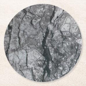 streaked ebony ivory marble stone round paper coaster