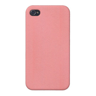 Streaked Pink Leather Grain Look Case For iPhone 4