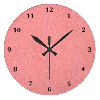 Streaked Pink Leather Grain Look Large Clock